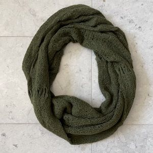 Degaine Olive Green Weave Infinity Circle Scarf